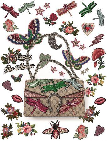蝴蝶 蜜蜂 牡丹刺绣 .来做一个你专属的GUCCI包