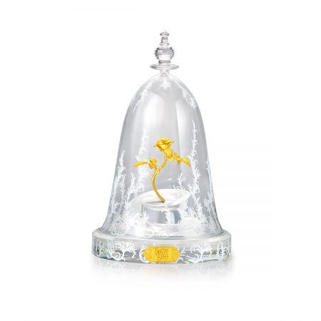 周大福迪士尼「美女與野獸」系列玫瑰花純金擺件 搭配玻璃花罩