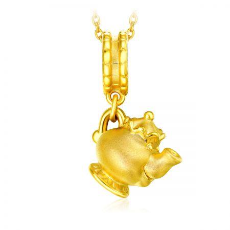 周大福迪士尼「美女與野獸」系列茶壺太太純金串飾墜飾(附皮繩)