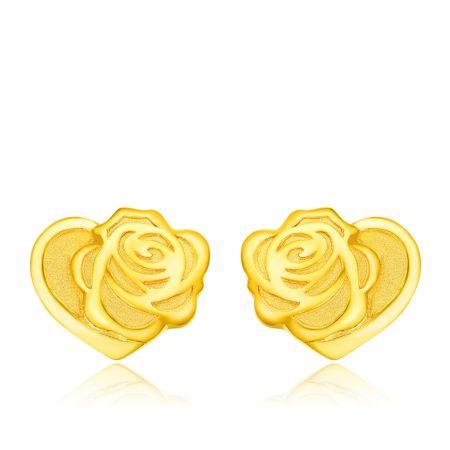 周大福迪士尼「美女與野獸」系列心型純金耳環