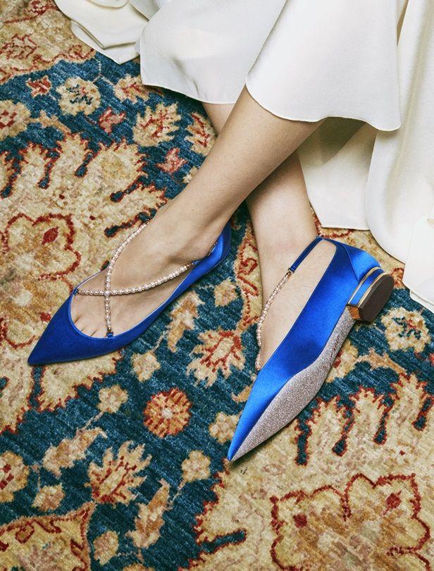 平底款婚鞋美翻又時髦!RENE CAOVILLA打造交叉裸珠鑽