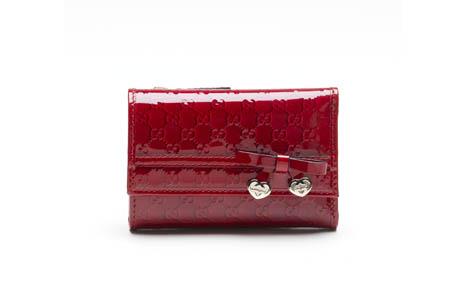 GUCCI 紅色漆亮牛皮皮夾,NT9,950~NT19,450