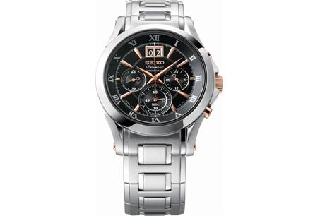 王力宏首發代言SEIKO「Premier」系列/大視窗日期計時碼錶,NT24,500。