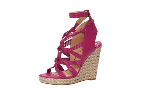 桃紅色繫帶楔型鞋,Carolinna Espinosa