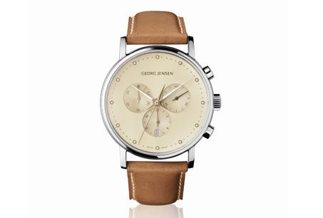 喬治傑生Koppel系列古柏男仕香檳色錶盤計時碼錶,搭配棕色小牛皮錶帶,NT$49,000。