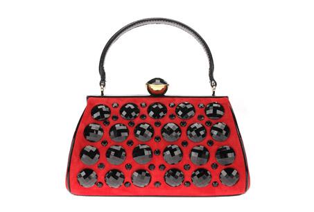 紅色麂皮鑲嵌寶石手拿包,MOSCHINO