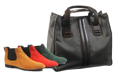 最新男裝系列,除了個性提包之外鮮豔大膽的鞋款也是主要潮流之一。