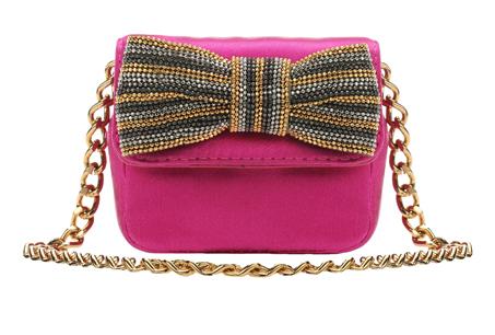 迷你桃紅色蝴蝶結裝飾鍊包,Moschino,NT$13,800。