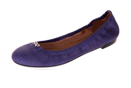 紫色皮質娃娃鞋,Anya Hindmarch。