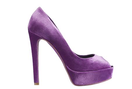 紫色絨布厚底高跟鞋,Dior 。