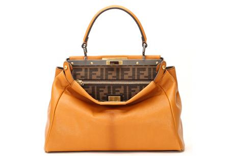 黃色皮革提包,FENDI,NT$86,000。