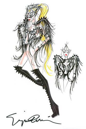 Armani先生為「女神卡卡」(Lady Gaga)《The Born This Way Ball 》所設計的巡迴演出會舞台服裝手稿