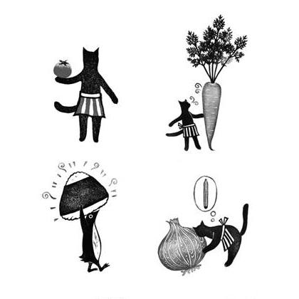 書中可愛的插圖by版畫藝術家貓野Pesca