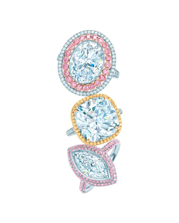 Tiffany 白鑽鑲嵌彩鑽戒指