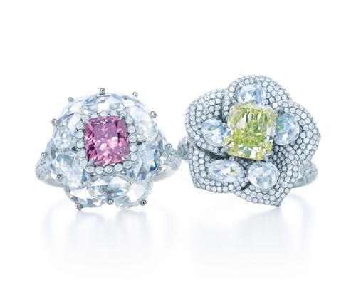 Tiffany 花朵造型粉鑽戒指