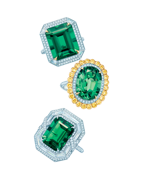Tiffany 祖母綠鑽石鉑金戒指
