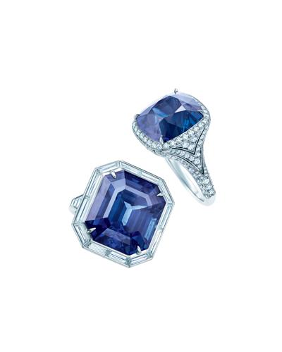 Tiffany 藍寶石鑽石鉑金戒指