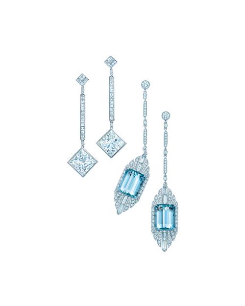 Tiffany 海水藍寶石與鑽石耳環