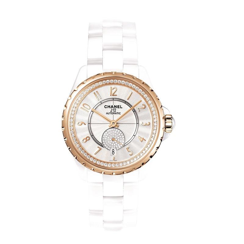 J12-365 白色BEIGE米色金鑽石腕錶