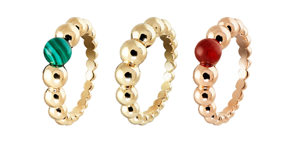 Van Cleef & Arpels 將推出六款更迷人的款式,以色彩繽紛的小顆寶石妝點由小大至大排列而成的圓珠戒圈,可愛的設計展現柔美愉悅的氛圍,讓漂亮的手指更添風采。