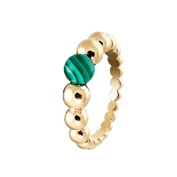 Perlée小至大圓珠戒指 黃K金鑲嵌孔雀石,參考價NTD77,000