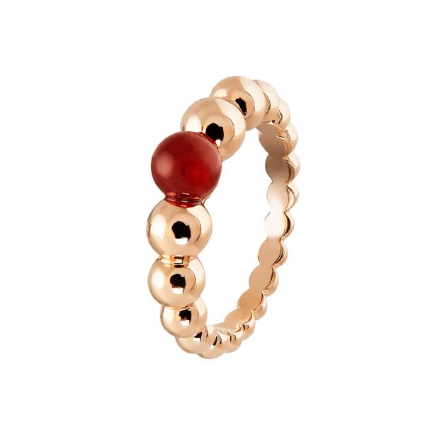 Perlée小至大圓珠戒指 玫瑰金、紅玉髓 參考價NTD71,000