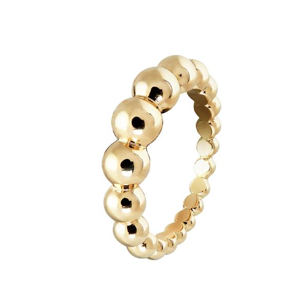 Perlée小至大圓珠戒指 黃K金 參考價NTD 77,000