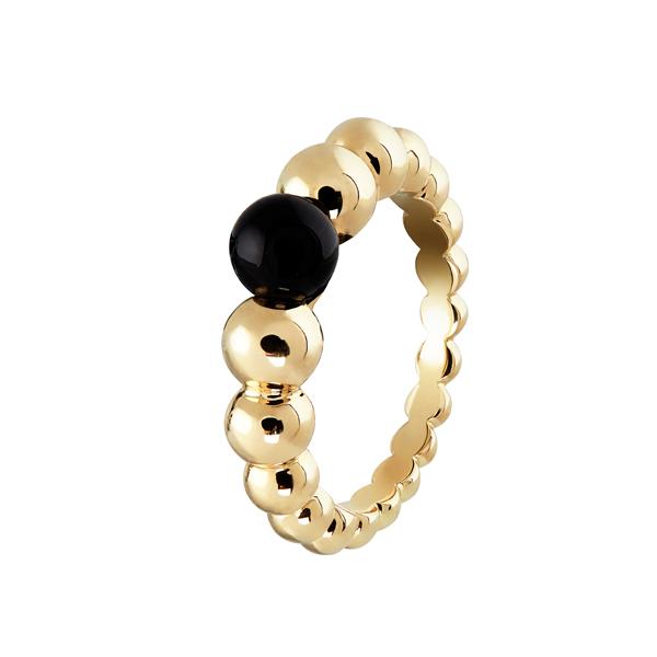 Perlée小至大圓珠戒指 黃K金、縞瑪瑙 參考價NTD 66,000
