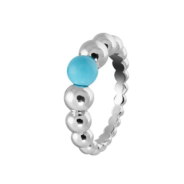 Perlée小至大圓珠戒指 白K金、土耳其石 參考價NTD98,000