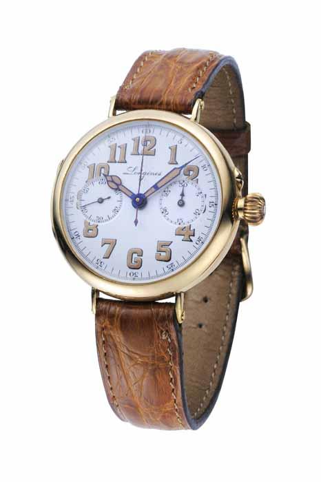 浪琴錶18K 金材質錶殼單按把計時碼錶