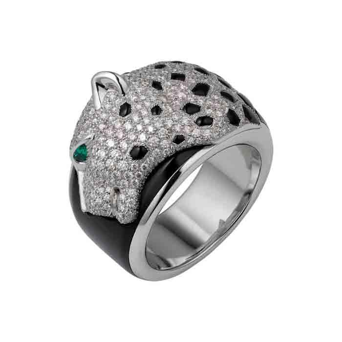 卡地亞Panthère de Cartier美洲豹頂級珠寶系列戒指 18K白金,縞瑪瑙,祖母綠,鑽石 參考價格約NT$ 2,510,000