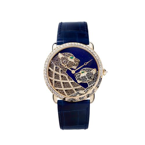 細緻優雅的古老技法 卡地亞金銀絲細工美洲豹裝飾腕錶