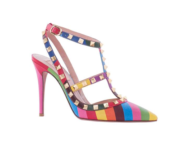 VALENTINO GARAVANI 撞色鉚釘裝飾高跟鞋 NT$35,000