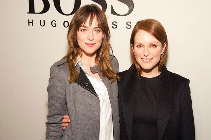 BOSS 2015秋冬紐約時裝週:金球獎影后Julianne Moore(茱莉安摩爾)和電影《格雷的五十道陰影》女主角Dakota Johnson(達珂塔強生)