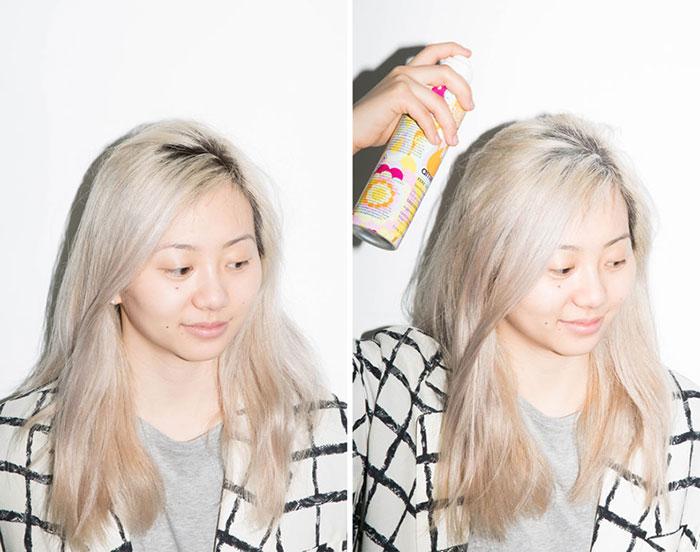 從深色髮染成金色,但又不像 Kim Kardashian那麼華麗,那就用乾洗髮來掩蓋新長出來的黑髮吧。