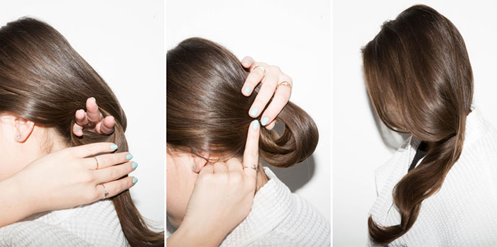 把頭髮盤成一個環形的髮髻,睡前固定它,讓它起床後就可以更蓬鬆喔。
