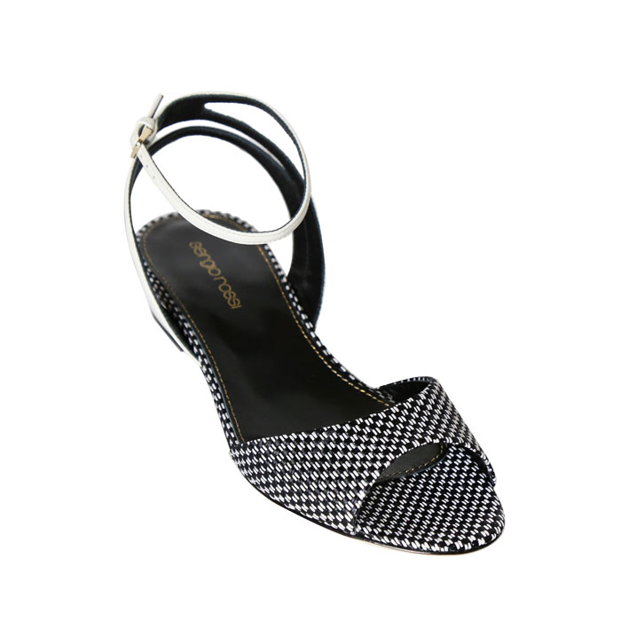 sergio rossi 黑白織紋繫帶涼鞋 $26,800