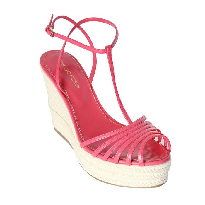 sergio rossi 桃紅繫帶麻繩船型高跟鞋 $28,800