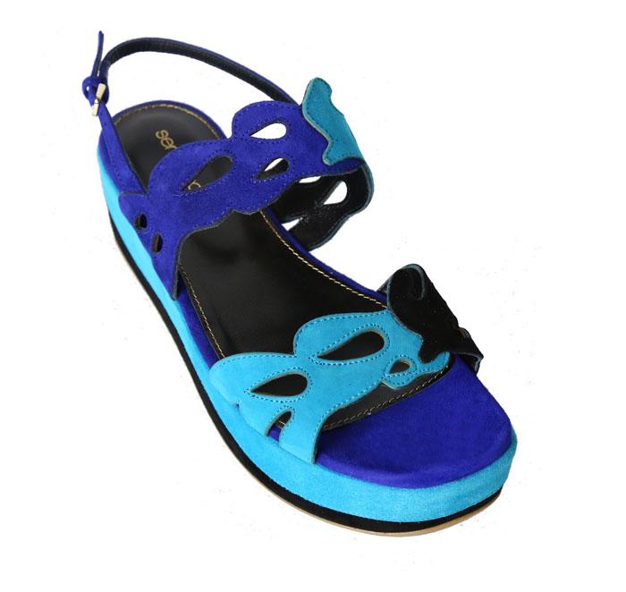 sergio rossi 湖泊藍麂皮拼接厚底涼鞋$32,800