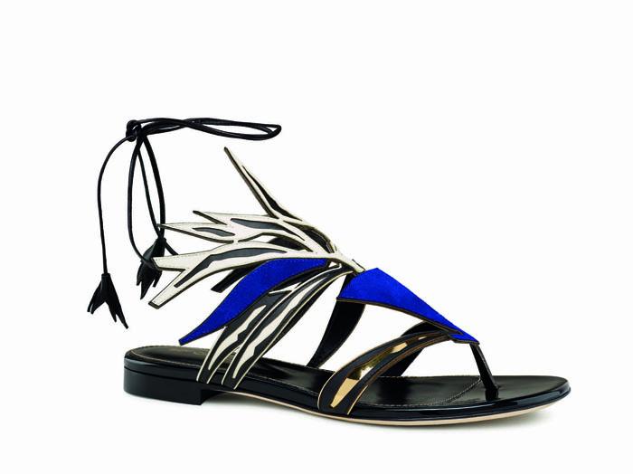 sergio rossi 閃電藍葉子3D立體低跟涼鞋$39,800