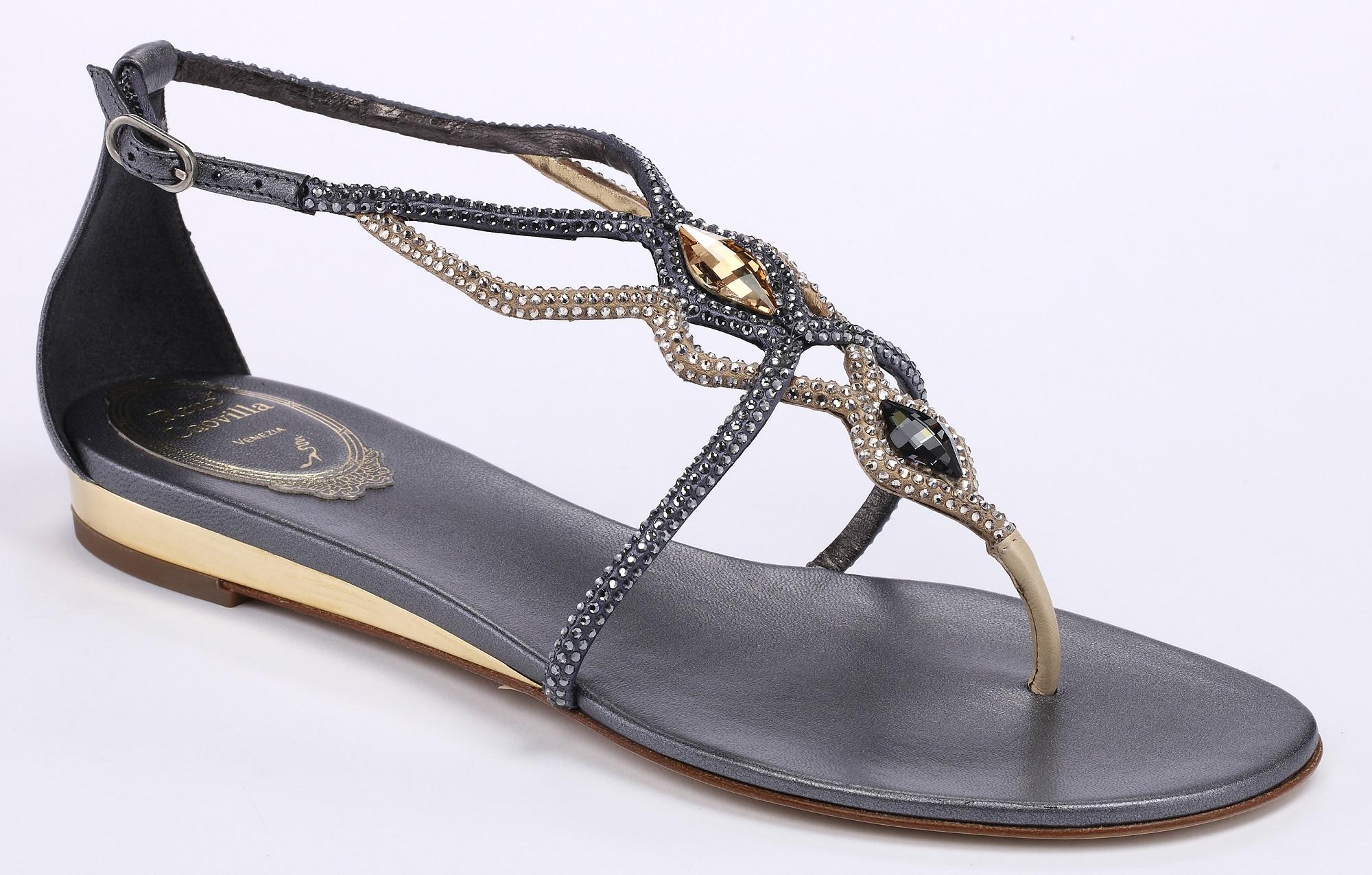 灰金交叉水晶平底涼鞋 NT$42,000