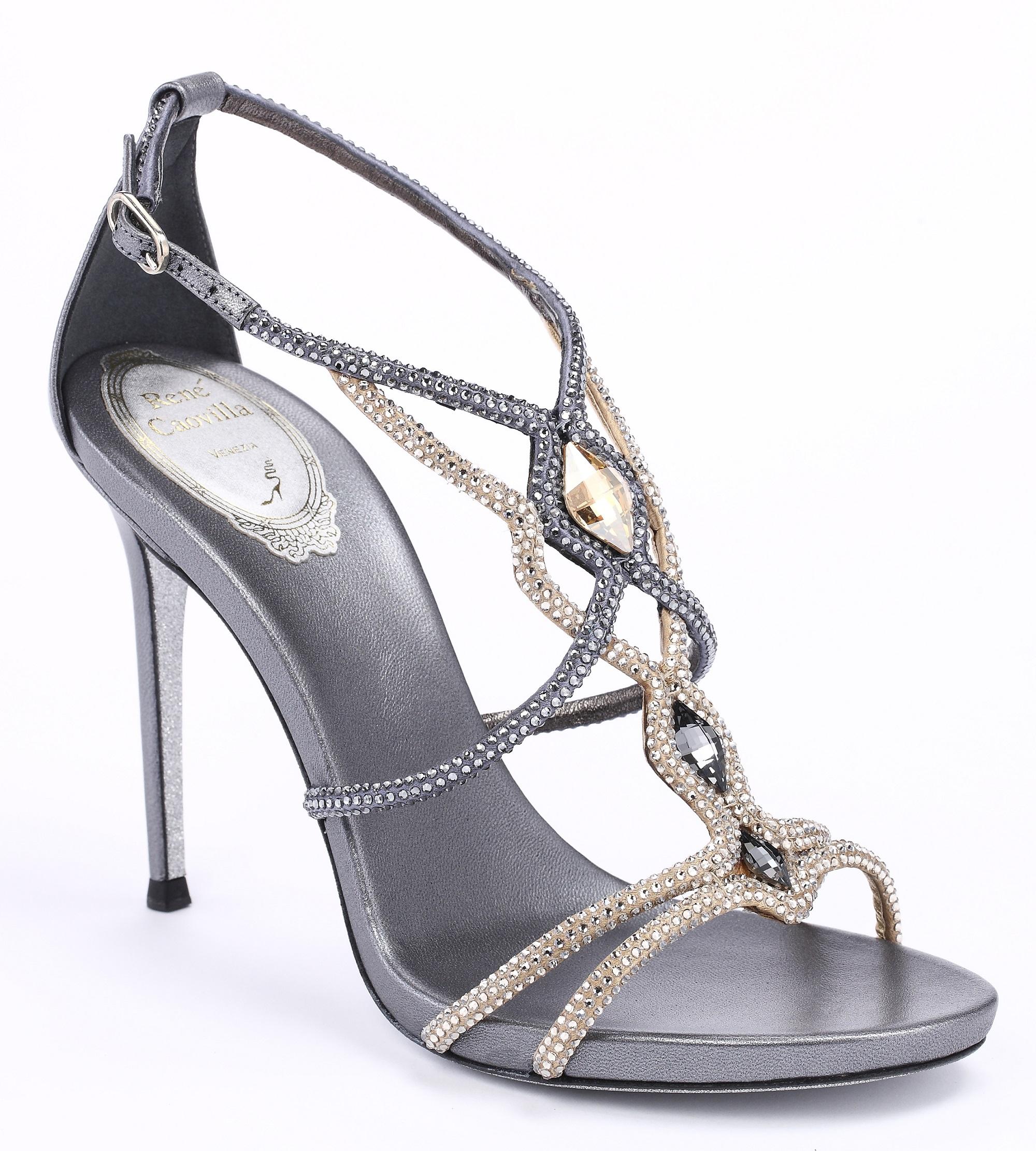 灰金交叉水晶高跟涼鞋 NT$58,000