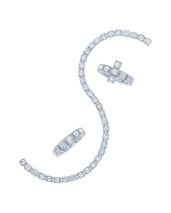 Tiffany T手鍊和戒指,18K 白金鑲鑽