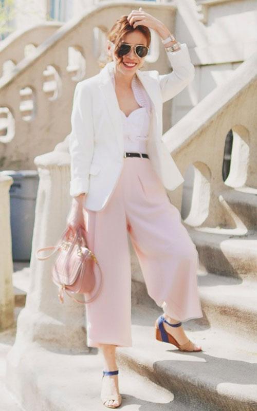 ▲Preces of C 用粉色系寬管褲打造夏日的輕盈視覺效果