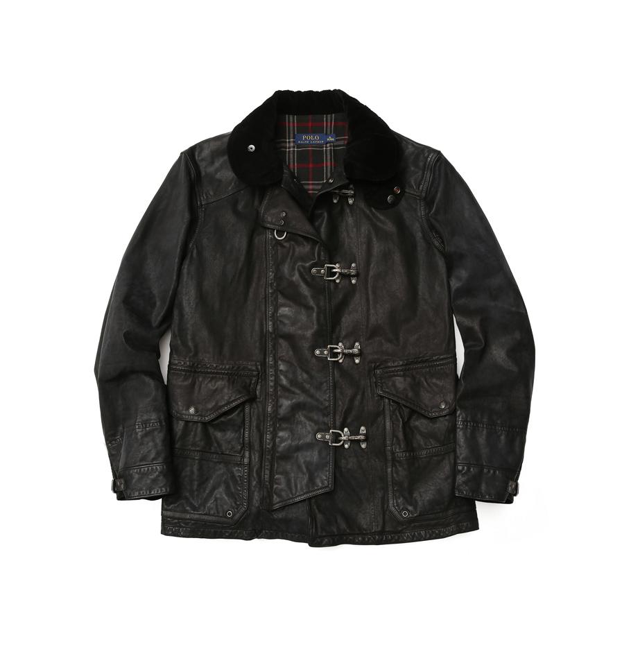Polo Ralph Lauren Men 黑色燈芯絨領皮革外套 NTD82,080