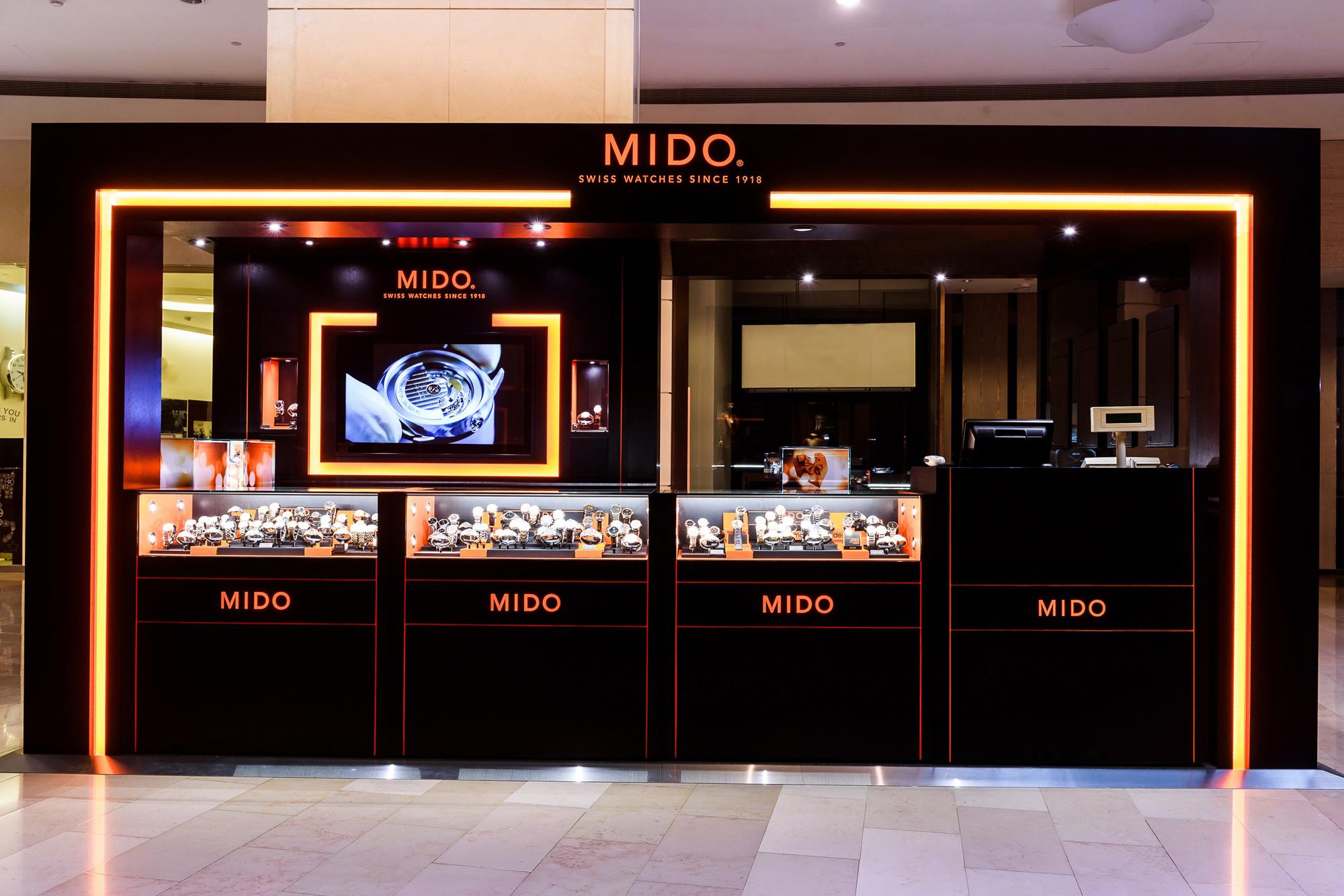 MIDO美度表台北101專賣店由瑞士原廠設計師親自操刀,以品牌經典的橘黑色系為主軸。