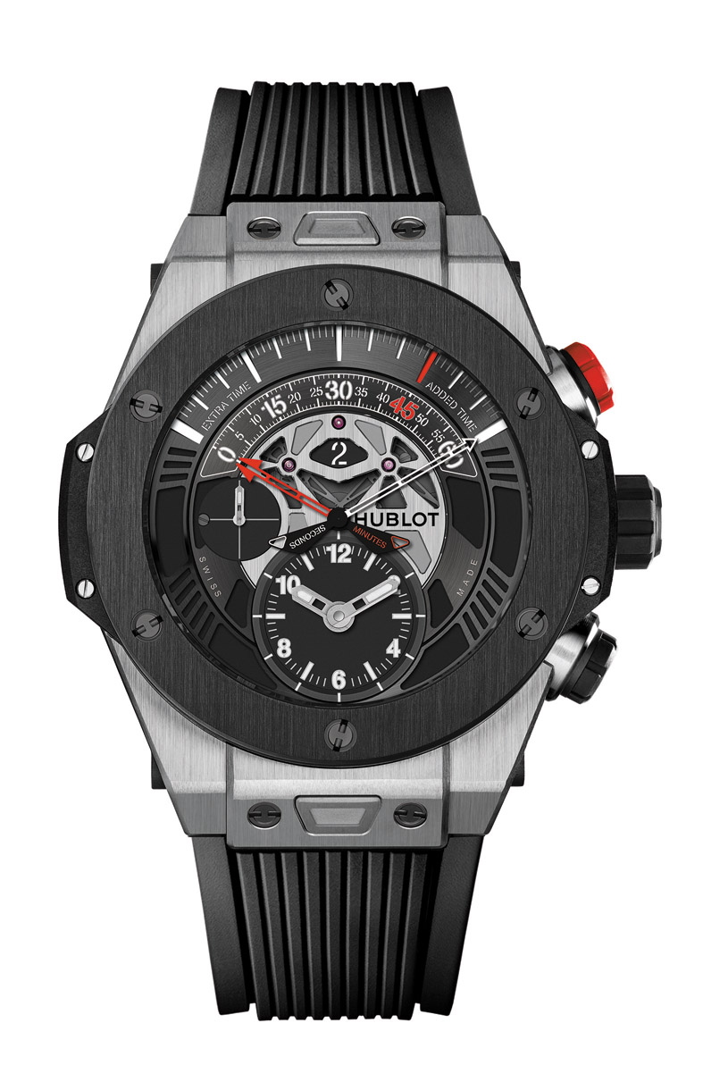 Hublot Loves Football推薦款 - Big Bang UNICO Chronograph Retrograde Titanium Ceramic 售價NTD778,000