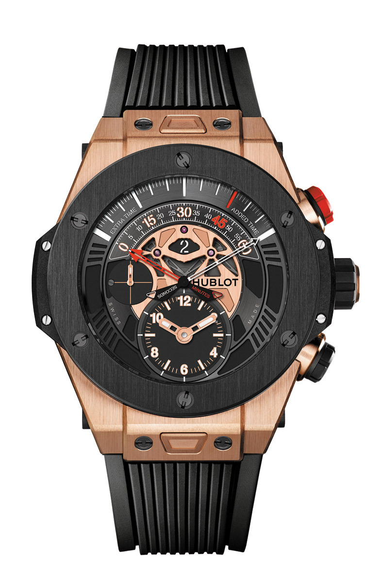 Hublot Loves Football推薦款 - Big Bang UNICO Chronograph Retrograde King Gold Ceramic 售價NTD1,255,000