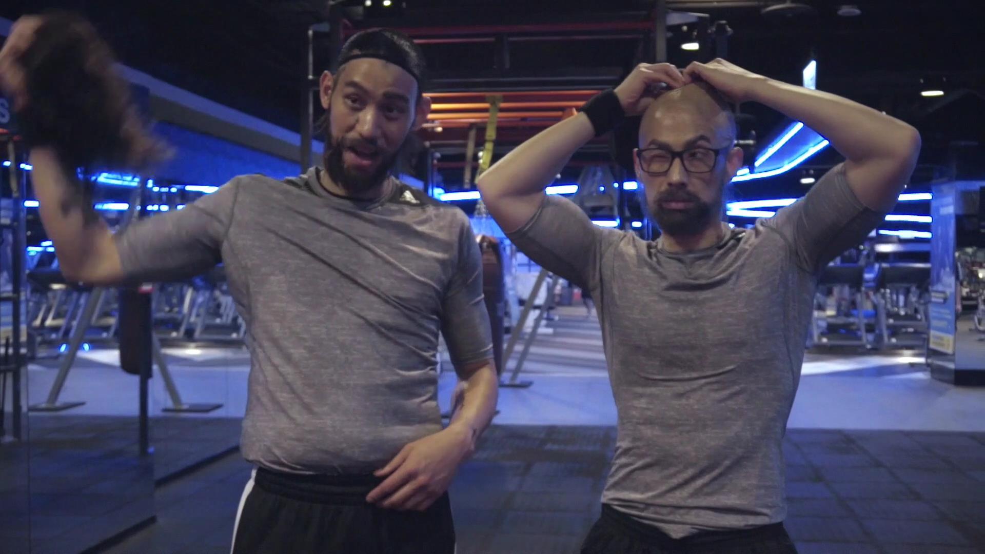 本次影片林書豪與吳建豪針對變裝進行更大膽的嚐試,分別化身為長髮、身形微胖的健身教練Wayne;以及光頭造型、滿臉蓄鬍的Vincent與消費者互動