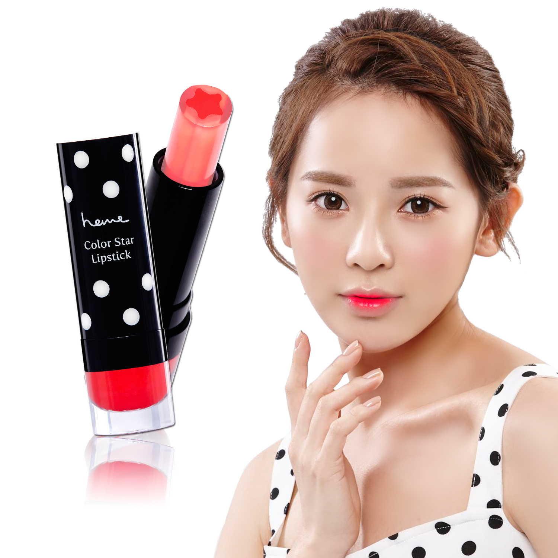 啾!heme星鑽糖心潤唇膏,單擦即可呈現最IN的韓式花瓣咬唇妝,多層疊合則轉換為飽和水感唇彩。